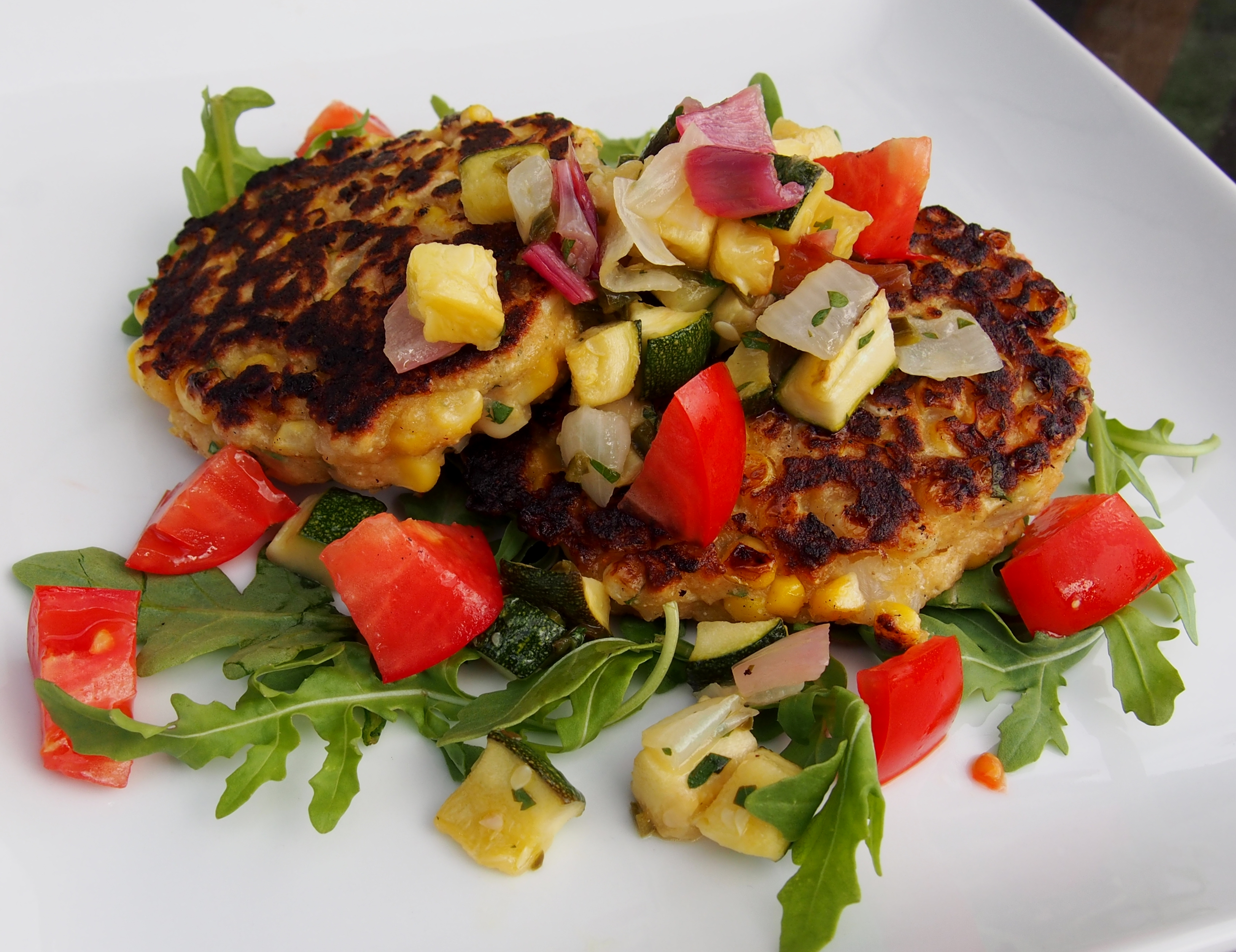 Corn Cakes with Roasted Zucchini Salsa | Finding my Inner Chef