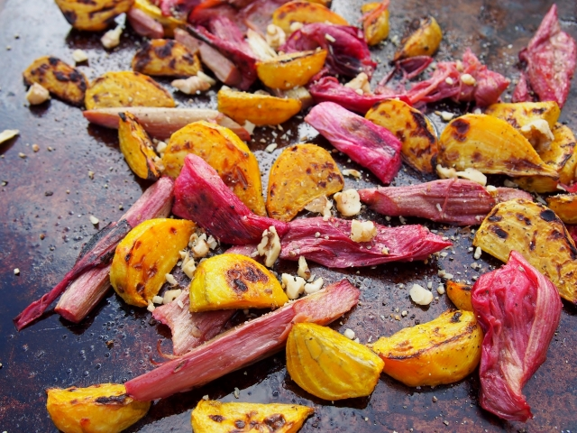 Roasted Rhubarb & Golden Beets