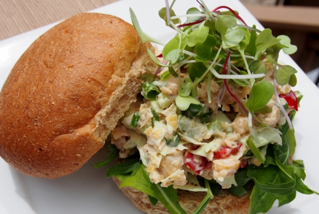 Chickpea salad on crusty roll