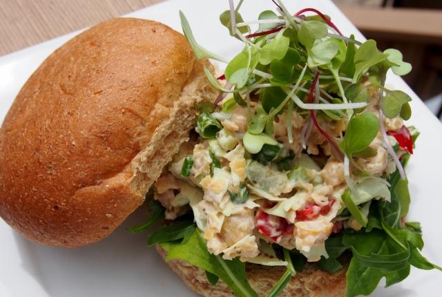 Chickpea salad on crusty roll