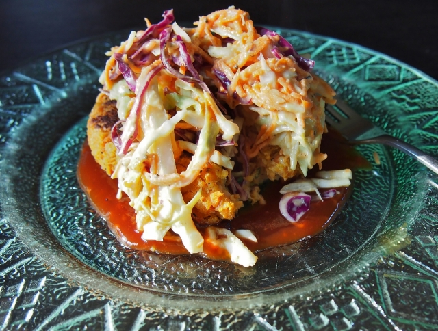 Sweet Potato Chickpea Patties with Tangy Coleslaw